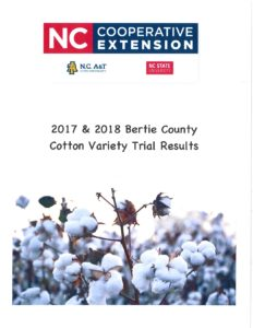 Cover photo for 2017 & 2018 Bertie County Cotton Variety Trial Results