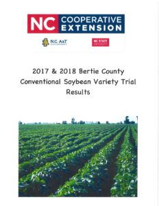 Cover photo for 2017 & 2108 Bertie County Conventional Soybean Variety Trial Results