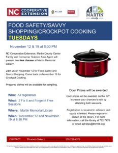 Cover photo for Food Safety / Savvy Shopping / Crockpot Cooking  Tuesdays