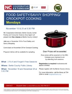 Cover photo for Food Safety / Savvy Shopping/ Crockpot Cooking