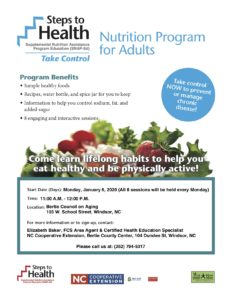Cover photo for Steps to Health Nutrition Program for Adults